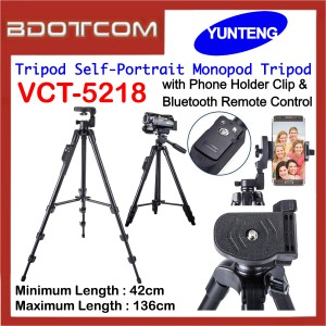 Yunteng VCT-5218 Camera Tripod Self-Portrait Monopod Tripod with Phone Holder Clip & Bluetooth Remote Control for Smartphone / Camera