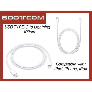USB TYPE-C Lightning Cable (100cm) for Apple iPad, iPhone, iPod
