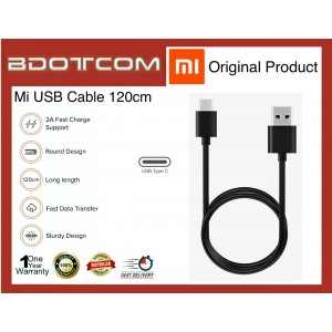 Original Xiaomi Mi TYPE-C USB SYNC & Charge Cable (120cm) for Xiaomi Mi 8, Mi 9, Mi 9T, Mi A2, Mi A3, Black Shark 2 Pro, Mi Mix 2s, Mi Mix 3, Redmi 8 Pro