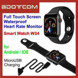 Smart Watch W34 1.54″ Full Touch Screen Waterproof Heart Rate Monitor for Android / IOS