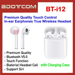 Premium Quality BT-i12 Bluetooth 5.0 Touch Control In-ear Earphones True Wireless Headset with Charging Case