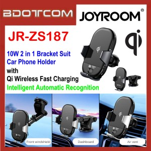 JOYROOM JR-ZS187 10W 2 in 1 Bracket Suit Qi Intelligent Wireless Fast Charging Car Phone Holder