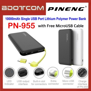 Pineng PN-955 10000mAh Single USB Port Lithium Polymer Power Bank with MicroUSB Cable