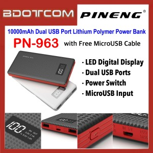 Pineng PN-963 Digital LED Display 10000mAh Dual USB Ports Lithium Polymer Power Bank with MicroUSB Cable