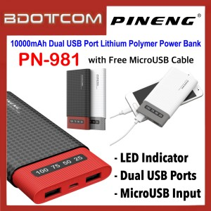 Pineng PN-981 LED Indicator 10000mAh Dual USB Ports Lithium Polymer Power Bank with MicroUSB Cable