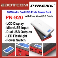 Pineng PN-920 LED Display 20000mAh Dual USB Ports Power Bank with MicroUSB Cable