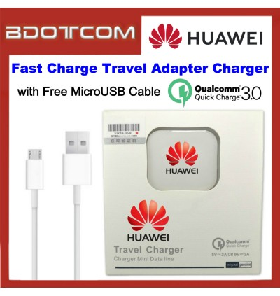 Huawei 2A QC3.0 Fast Charge Travel Adapter Charger with MicroUSB Cable for Y3II / Y5II / Y5 Lite / Y5 Prime / Y6 / Y6 Pro / Y7 Prime / P8 / P8 Lite / Mate 8