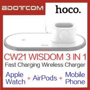 Hoco CW21 Wisdom 3 In 1 Fast Charging Wireless Charger for Apple Watch + Apple Airpods + Mobile Phone