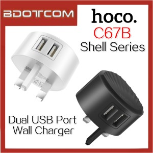 Hoco C67B Shell series 2.4A Dual USB Port Wall Charger Travel Adaptor