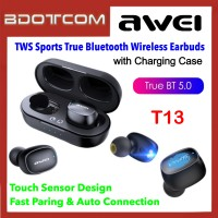 Awei T13 TWS Touch Sensor Sport Earbuds Binaural True Wireless Bluetooth V5.0 Earphone with Charging Case