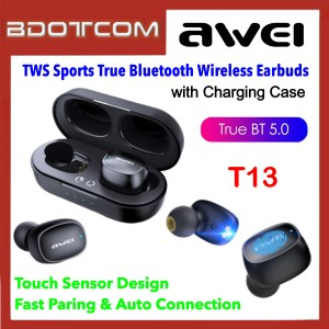 Awei T13 TWS Touch Sensor Sport Earbuds Binaural True Wireless Bluetooth V5.0 Earphone with Charging Case for Samsung / Apple / Huawei / Xiaomi / Oppo / Vivo
