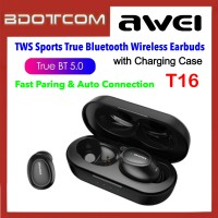 Awei T16 Sport Binaural True Wireless Charging TWS Bluetooth V5.0 Headset Earbuds with Charging Case