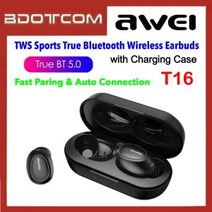 Awei T16 Sport Binaural True Wireless Charging TWS Bluetooth V5.0 Headset Earbuds with Charging Case Samsung / Apple / Huawei / Xiaomi / Oppo / Vivo