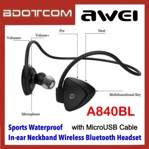 Awei A840BL Smart Sports Waterproof In-ear Neckband Wireless Bluetooth Headset with MicroUSB Cable