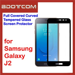 Full Covered Curved Tempered Glass Screen Protector for Samsung Galaxy J2 (Black)