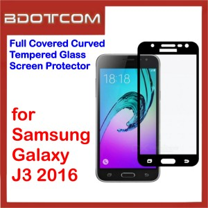 Full Covered Curved Tempered Glass Screen Protector for Samsung Galaxy J3 2016 (Black)