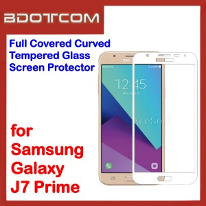 Full Covered Curved Tempered Glass Screen Protector for Samsung Galaxy J7 Prime (White)