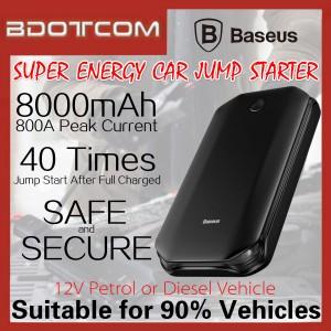 Baseus Super Energy Car Jump Starter 8000mAh Emergency Battery Booster Power Bank with LED Light For Toyota / Honda / Mazda / Proton / Perodua / BMW / Mercedes / Hyundai / Nissan / Audi / Volvo / Volkswagen / Lexus / Kia / Suzuki / Ford / Mitsubishi