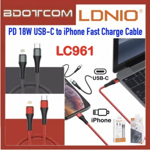 LDNIO LC961 PD 18W USB-C to Lightning 1M Fast Charging & Sync Data Cable for Apple iPhone 11 Pro Max / Xs / XR, iPhone 8 / 8 Plus, iPhone 7 / 7 Plus, iPad Pro 12.9, iPad Air 3 10.5, iPod Touch 6th Generation