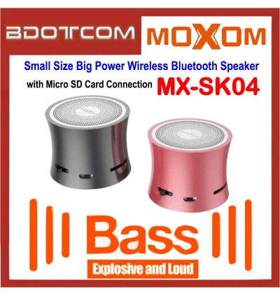 Moxom MX-SK04 Small Size Big Power Wireless Bluetooth Speaker with Micro SD Card Connection
