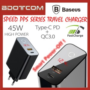 Baseus Speed PPS Intelligent Power-Off Smart Touch Dual Port 45W Type-C PD + QC3.0 Quick Charge Travel Charger Adaptor