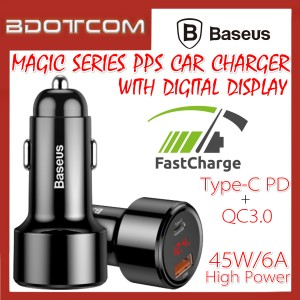 Baseus Magic series PPS Digital Display 45W Dual USB Port Type-C PD + QC3.0 Quick Charge In Car Charger