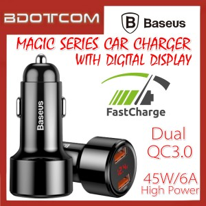 Baseus Magic series Digital Display 45W Dual QC3.0 USB Port Quick Charge In Car Charger