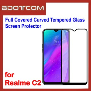 Full Covered Curved Tempered Glass Screen Protector for Realme C2 (Black)