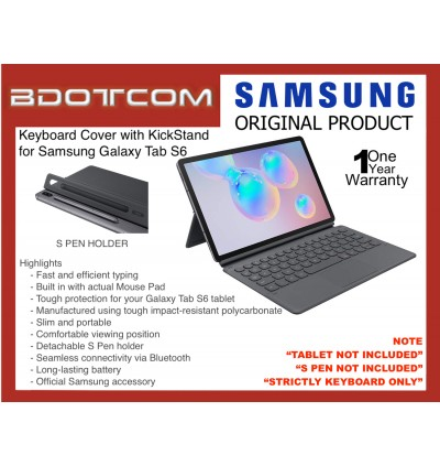 Original Samsung Book Cover Keyboard Case with Built in KickStand for Samsung Galaxy Tab S6 SM-T865