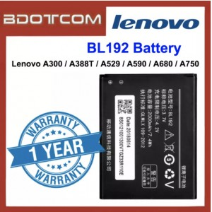 Replacement Battery BL192 for Lenovo A300 / A388T / A529 / A590 / A680 / A750