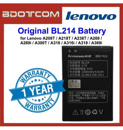 Original Lithium Polymer Rechargeable Battery BL214 for Lenovo A208T / A218T / A238T / A269 / A269i / A300T / A316 / A316i / A318 / A369i