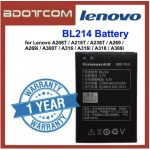 Replacement Battery BL214 for Lenovo A208T / A218T / A238T / A269 / A269i / A300T / A316 / A316i / A318 / A369i