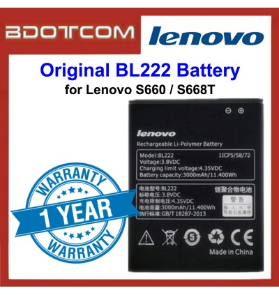 Original Lithium Polymer Rechargeable Battery BL222 for Lenovo S660 / S668T