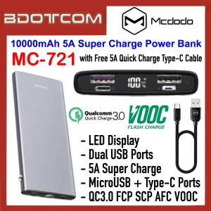 Mcdodo MC-721 LED Display 10000mAh 5A Super Charge Dual USB + MicroUSB / Lightning Ports Power Bank Support QC3.0 FCP SCP AFC VOOC with 5A Quick Charging Type-C Cable