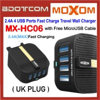Moxom MX-HC06 2.4A 4 USB Ports Fast Charge Travel Wall Charger ( UK Plug ) with MicroUSB Cable