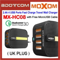 Moxom MX-HC08 QC3.0 4 USB Ports Fast Charge Travel Wall Charger ( UK Plug ) with MicroUSB Cable
