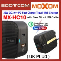 Moxom MX-HC10 36W QC3.0 USB + PD USB-C Ports Fast Charge Travel Wall Charger ( UK Plug ) with MicroUSB Cable