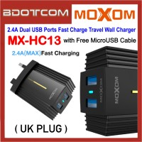 Moxom MX-HC13 Metal Line 2.4A Dual USB Ports Fast Charge Travel Wall Charger with MicroUSB Cable