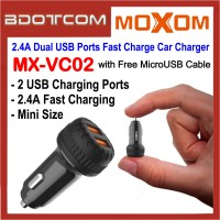 Moxom MX-VC02 Mini 2.4A Dual USB Ports Fast Charge Car Charger with MicroUSB Cable