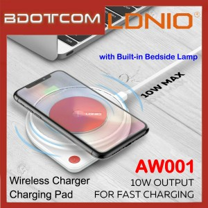LDNIO AW001 10W Fast Wireless Charger Charging Pad with Built-in Bedside Lamp for iPhone XR, Xs, Xs Max, iPhone 11, Huawei P30, P30 Pro, Mate 30. Samsung S10, Note10, Note9, Note8, Note FE