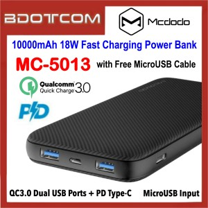 Mcdodo MC-5013 10000mAh 18W PD Type-C QC3.0 Dual USB Ports Fast Charging Power Bank with MicroUSB Cable