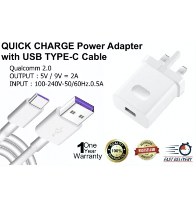 Huawei QUICK CHARGE Power Adapter Charger with USB TYPE-C Cable for Huawei Mate 30 Pro, Mate 20X, Mate 20 Pro, Mate 10 Pro, Mate 9 Pro, P30 Pro, P20 Pro, P10 Plus, P9 Plus