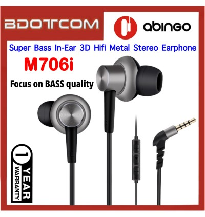Abingo M760i Super Bass Stereo Metal Hifi In-Ear Earphone for Samsung / Apple / Huawei / Oppo / Vivo / Xiaomi Device
