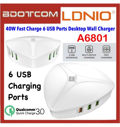 LDNIO A6801 40W QC3.0 Fast Charging 6 USB Ports Desktop Portable Wall Charger for Samsung / Apple / Huawei / Oppo / Vivo / Xiaomi Device