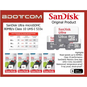 Original SanDisk SQUNS Ultra 80MB/s Class 10 UHS-I 533x 16GB, 32GB microSDHC™ 64GB, 128GB microSDXC™ Micro SD Memory Card for Mobile Phones, Tablets, Cameras, Game Consoles, MP3 Players and etc