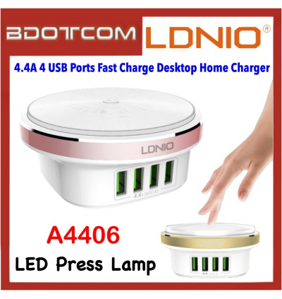LDNIO A4406 LED Press Lamp 4.4A 4 USB Ports Fast Charge Desktop Home Charger