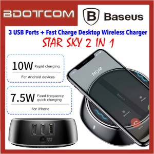 Baseus Star Sky 2 in 1 Fast Charge Desktop Wireless Charger with 3 USB Charging Ports for iPhone XR / Xs / Xs Max / iPhone 11 / Huawei P30 / P30 Pro / Mate 30 / Samsung Galaxy S10 / Note 10 Note 9 / Note 8 / Note FE