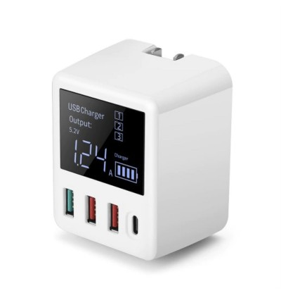 A9T Digital Display 30W 3 USB Ports QC3.0 + USB Type-C Port Fast Charge Travel Wall Charger for Samsung / Apple / Huawei / Vivo / Oppo / Xiaomi