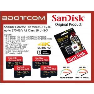 Original SanDisk EXTREME PRO 100MB/s - 170MB/s A2 Class 10 UHS-3 V30 [U3] 4K Ultra HD UHD 32GB microSDHC™ 64GB, 128GB, 256GB microSDXC™ Micro SD Memory Card for Mobile Phones, Tablets, Cameras, DSLR. Video Camcorder, Game Consoles, MP3 Players and etc