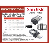 Original SanDisk Ultra Dual Drive m3.0 16GB, 32GB, 64GB, 128GB, and 256GB Micro USB OTG (On-The-Go) USB Flash Drive for Android Devices